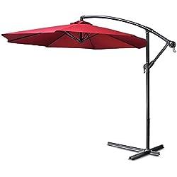 Flexzion Patio Offset Umbrella 10' feet Red Hanging Folding Sun Shade Crank Canopy With Cross Base Crank for Outdoor Market Garden Lawn Yard Beach Pool Side Furniture