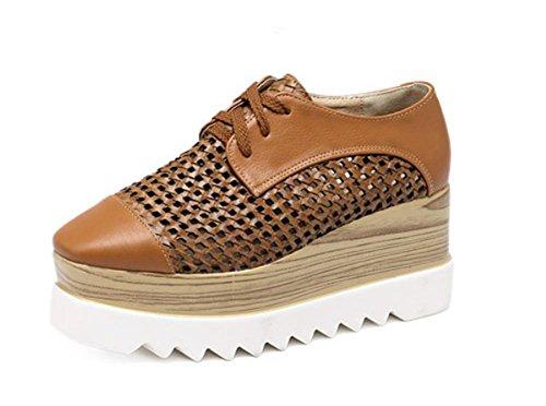 Flachbodige Muffin Schuhe Spitzegewinde leeren quadratischen Kopf Schuhe atmungsaktive Schuhe Frau Aufzug Schuhe Singles fallen brown