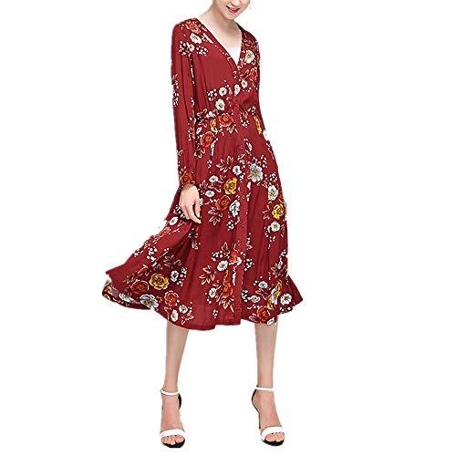 Otprdirect Cardigan  Motif Floral pour Femme (Color : Black, Size : XXL) Red