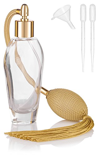 JUVITUS Vintage Oval Perfume Refillable Glass Bottle with Antique Gold Bulb Sprayer with Tassel - 2 oz/55 ml with funnel and pipettes - Oval Spray Bottle