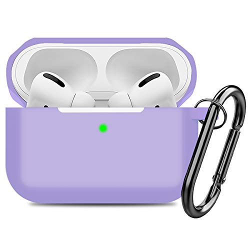 Compatible AirPods Pro Case Cover Silicone Protective Case Skin for Apple Airpod Pro 2019 (Front LED Visible) Purple