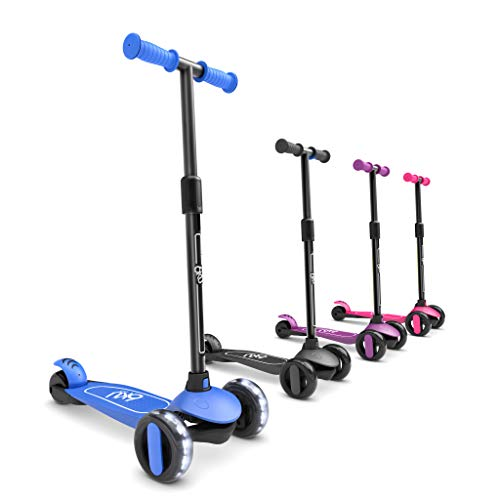 6KU 3 Wheels Kick Scooter for Kids and Toddlers Girls & Boys, Adjustable Height, Learn to Steer with Extra-Wide PU LED Flashing Wheels for Children from 2 to 5 Year-Old. (Blue)