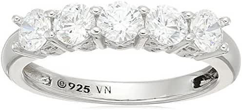 Platinum Plated Sterling Silver Swarovski Zirconia Round Cut 5 -Stone Ring, 1 cttw