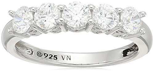 Platinum Plated Sterling Silver Swarovski Zirconia Round Cut 5 -Stone Ring, 1 cttw, Size - Stone Setting Ring Round 5