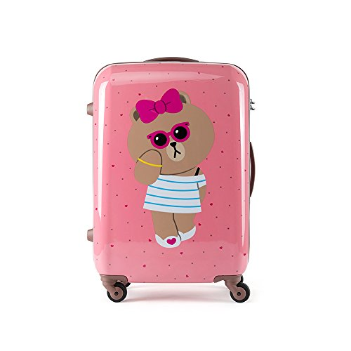 (SAMSONITE x LINE FRIENDS Suitcase Gentle Brown Pink Choco Spinner Luggage 20/24 / 28 inch (Pink 20 (choco)))
