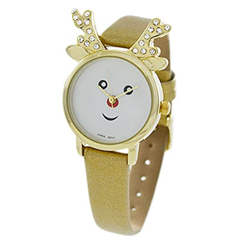 Rosemarie Collections Women's Christmas Holiday Red Nose Reindeer Wrist Watch (Gold