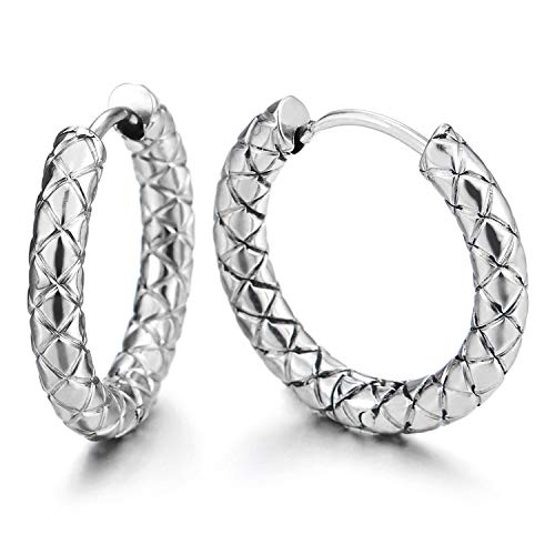 (2pcs Stainless Steel Braided Textured Circle Huggie Hinged Hoop Earrings for Men Women)