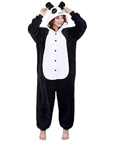 ABING Halloween Pajamas Homewear OnePiece Onesie Cosplay Costumes Kigurumi Animal Outfit Loungewear,Panda Adult S -for Height 150-158cm