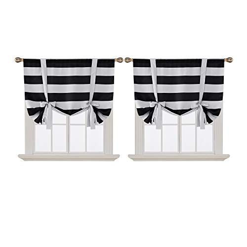 Deconovo Striped Blackout Curtains Rod Pocket Black and Greyish White Striped Curtains Tie Up Window Drapes for Living Room 46W X 63L Black 2 Panels Curtains