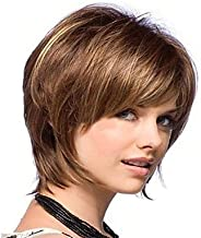 YAMEIJIA Woman's Short Brown Straight Synthetic Mix