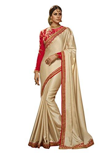 Dilse Fashion Embroidered Heavy Designer Paper Silk Saree (Cream)