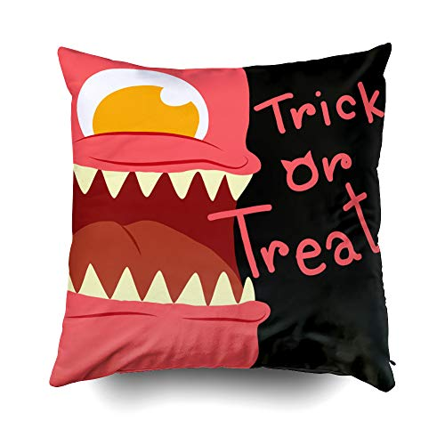 GROOTEY Decorative Cotton Square Pillow Case Covers with Zippered Closing for Home Sofa Decor Size 16X16 Inch Costom Pillowcse Throw Cover Cushion Halloween Halloween Monster Card Trick Treat