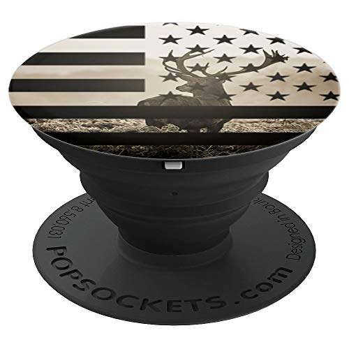 American US Flag Hunting Camo Buck Deer Hunters gift PopSockets Grip and Stand for Phones and Tablets