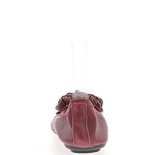 ChaussMoi Plegable Cuero Brillante con Bombas de Aspecto Rojo Decorativo Nudo
