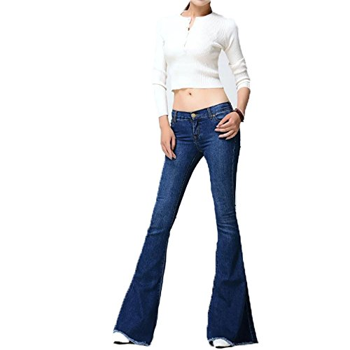 C360 Vintage Low Waist Elastic Jeans Women Retro Style Bell Bottom Skinny Jeans Female Dark Blue Wide Leg Denim Pants (30, Dark Blue)