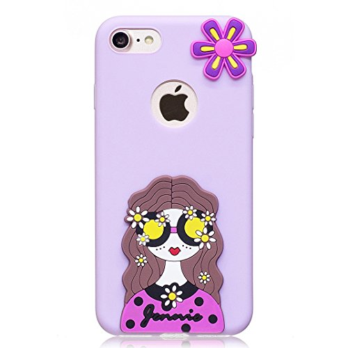 Etui iPhone 7 Housse Souple de Protection Mignonne Cute Case OuDu **Motif 3D** Etui en Silicone Coque TPU Caoutchouc Etui Flexible Lisse Housse Ultra Mince Coque Poids Léger Soft Silicone Case Cas Mot