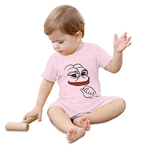 Pepe Meme Frog Baby Climbing Clothing Baby Short Sleeve Garment Unisex Design Looks Great On Newborn Pink 6M