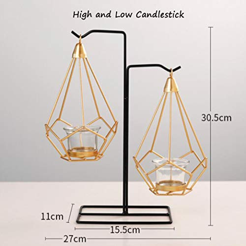 - MUROER Nordic Style Gold Geometric Candle Holders Iron Hanging Candlestick Craft Table Ornament Home Decoration