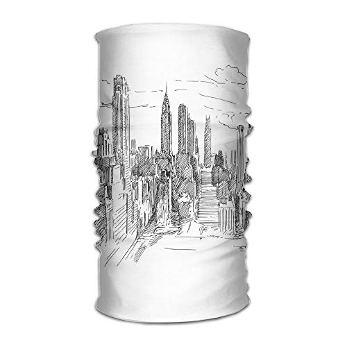 TRUSTINEE Woman's Man's Turban Hand Drawn NYC Cityscape Tourism Travel Industrial Center Town Modern City Design Campus Coverchief