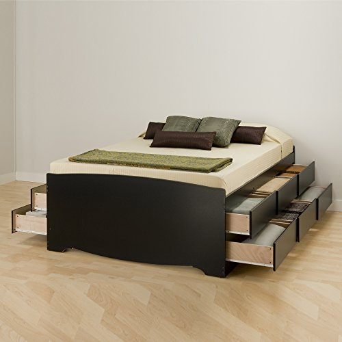 Captain Bed Box - Prepac BBQ-6212-K Tall Queen Sonoma Platform Storage Bed with 12 Drawers, Black
