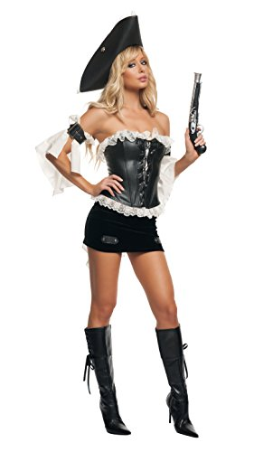 Starline Women's Swashbuckler Sexy Pirate Costume, Black/Ivory, Large