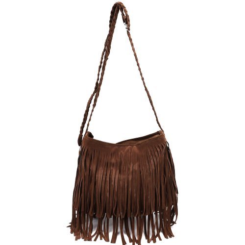 (Faux Suede Layered Fringed Trim Duffle Slouch Shoulder Bag Messenger Across Body)