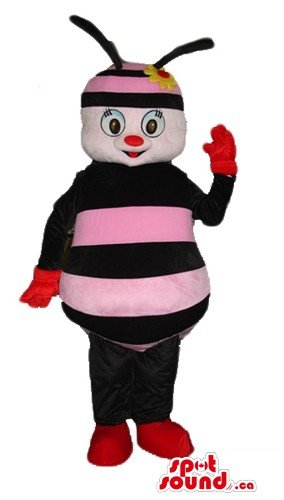 Cute pink and black honey bee SpotSound Mascot US costume fancy dress