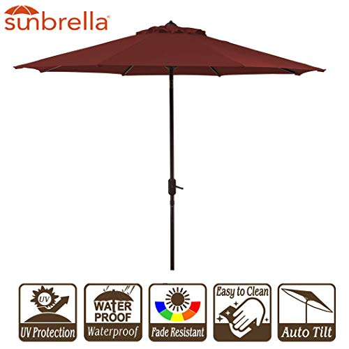 - Garden Umbrella with Crank and Auto Tilt 9 Feet Patio Market Table Umbrella Sunbrella Fabric Canvas Cornell Brick Red (9' Crank & Tilt, Brick Red Cornell)