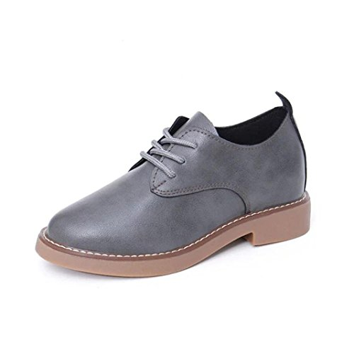 AMA(TM) Women Leather Spring Flat Single Shoes Casual Ankle Boots Gray