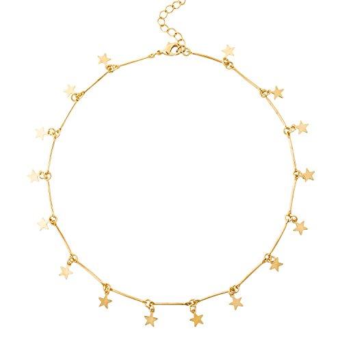 BaubleStar Star Charm Collar Necklace Dainty Chain Choker Pendant Disc Statement Jewelry gold for Women Girls ()