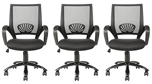 Mid Back Mesh CIBsK Ergonomic Computer Desk Office Chair, Black, 3 Pack by BestOffice