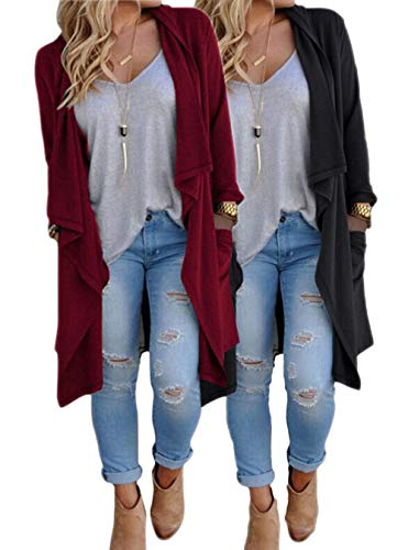 (ZITY Plus Size Cardigans for Women/Women's Long Open Front Drape Lightweight Maxi Long Sleeve Cardigan Sweater Duster Coat 2 Pack (Black&Wine) X-Large)