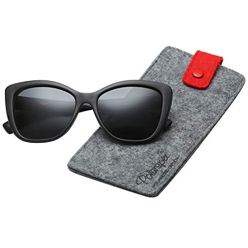 Polarspex Polarized Women's Oversized Square Jackie O Cat Eye Fashion Sunglasses (Matte Black, Smoke)