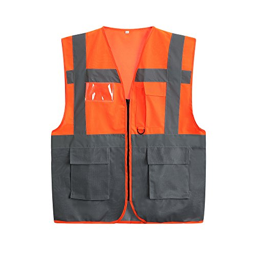 Safety Vest Reflective Safety Vest with Pockets and Zipper High Visibility Orange Utility Vest Reflective Security Vest (3 Extra Large)