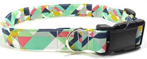 geometric-prisms-in-mint-designer-cotton-dog-collar-adjustable-handmade-fabric-collars-l-by-ruff-rox