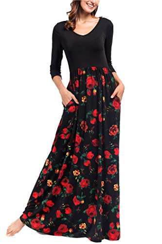 Comila Long Dress, Fashion Women 3/4 Sleeve Classic Floral Normal Summer Circumstances Spring V Neck Fall Months Holiday Party Hermoso Vestido Black Red Floral S US(4/6) -