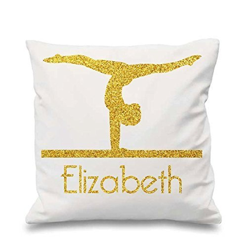 Sports Decorative Cushion Cover Glitter Throw Pillow Gift for Girl Gymnast Custom Pillowcase 18x18 inch Gymnatics Personalized Pillow Cover Throw Pillow Cover