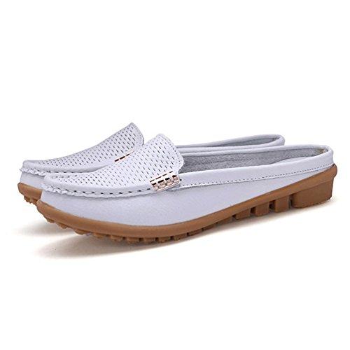 Mocasines Cuero Suave Reales Calzado Mujer Blanco Ocio De De MocasíN De Madre La Zapatos PqpwYIp