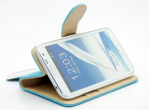 ZZYBIA® NOTE II QC Light Blue Leatherette Stand Case Card Holder Wallet for Samsung Galaxy Note 2 II N7100 N7105