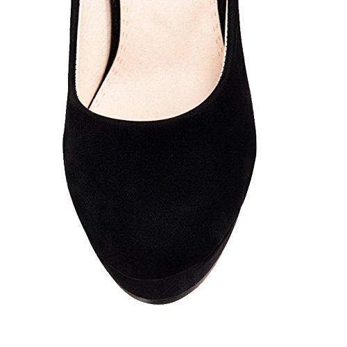 AllhqFashion Damen Stiletto Mattglasbirne Rein Ziehen auf Rund Zehe Pumps Schuhe Schwarz