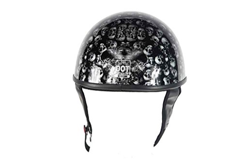 Blk Xl Helmet - Dealer MEN'S MOTORCYCLE DOT APPROVED BLK SHINY/MATT FINISH HELMET SKULL GRAPHIC D RING (XL BLACK SHINY)