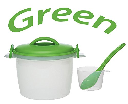 Progressive International Microwaveable 6-Cup (Cooked) Rice Cooker Set (Green) by Unknown by Unknown   B00LIAC5LI