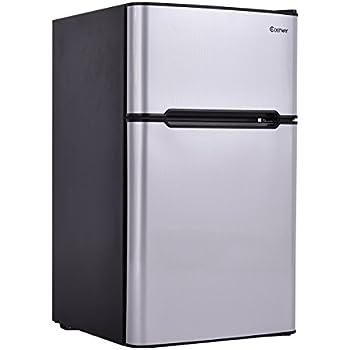 Delightful Costway 2 Door Compact Refrigerator 3.2 Cu Ft. Unit Small Freezer Cooler  Fridge Gray