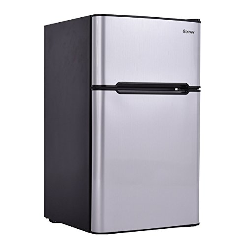 Costway 2-Door Compact Refrigerator 3.2 cu ft. Unit Small Freezer Cooler Fridge Gray