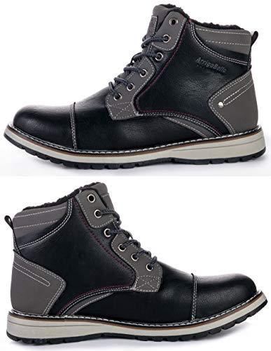 Ax Pelliccia nero Allineato Neve Scarpe Invernali Uomo Piatto Stivaletti Escursionismo Sportive Boots Caviglia Da A7302 Caloroso Boxing Stivali 8Hq8r