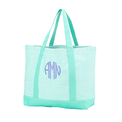 Custom Personalized Fashion Heavy Duty Canvas Tote Bag (Personalized, Mint Pin Stripe)