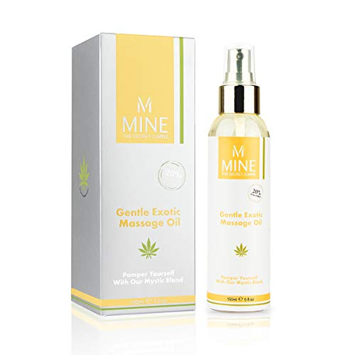 MINE-BEAUTY Deluxe Gentle Exotic Massage Oil for Men & Women - Neck, Back & Whole Body Grape Seed & Sweet Almond Organic Massage Oil with Hemp Seed, Vanilla, Jojoba Oils - Lightly Scented ()