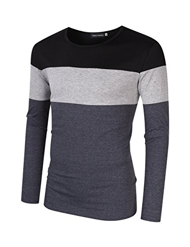 Yong Horse Men's Casual Stitching Tops Shirts Slim Fit Crew Neck Long Sleeve Basic Cotton T-Shirt
