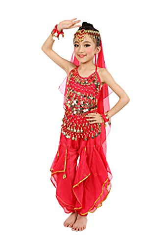 India Costume For Boy (So Sydney Girls Kid Childrens Deluxe Belly Dancer Halloween Costume Complete Set (M (6/8), Red))