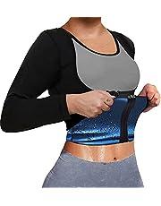 TOPELLER Sauna Suit for Women Sweat Body Shaper Jacket Hot Waist Trainer Long Sleeve Zipper Shirt Workout Top